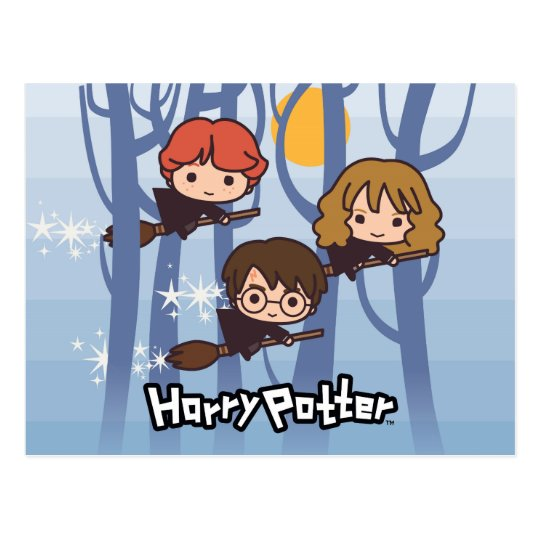 Cartoon Harry, Ron, & Hermione Flying In Woods