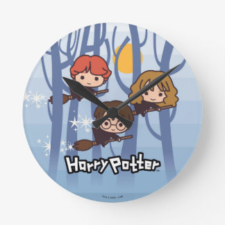 Cartoon Harry, Ron, & Hermione Flying In Woods Round Clock
