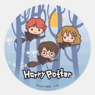 Cartoon Harry, Ron, & Hermione Flying In Woods Round Sticker
