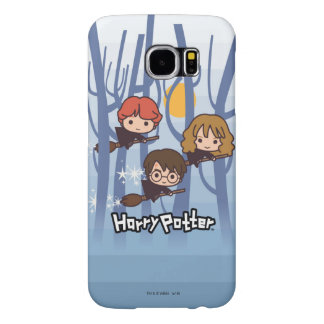 Cartoon Harry, Ron, & Hermione Flying In Woods Samsung Galaxy S6 Cases