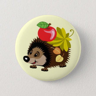 cartoon hedgehog 6 cm round badge