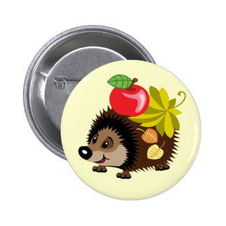 cartoon hedgehog 6 cm round badge