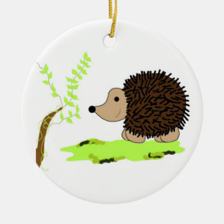 Cartoon Hedgehog Christmas Ornament