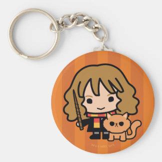 Cartoon Hermione and Crookshanks Key Ring