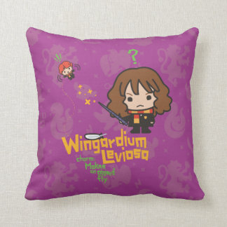 Cartoon Hermione and Ron Wingardium Leviosa Spell Cushion