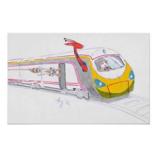 Cartoon high speed train guinea giraffe racoon poster