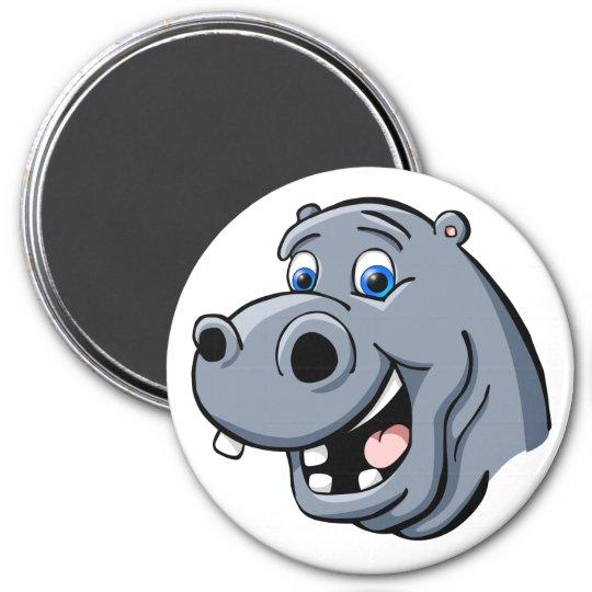 Cartoon Hippo 7.5 Cm Round Magnet