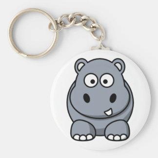 Cartoon Hippo Basic Round Button Key Ring