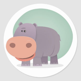 Cartoon Hippo Classic Round Sticker