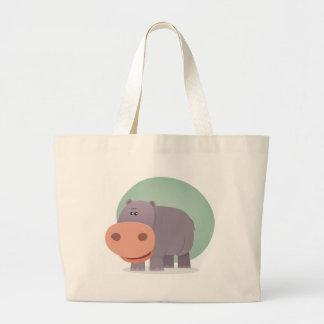 Cartoon Hippo Large Tote Bag