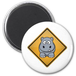 Cartoon Hippo Warning Sign Magnet
