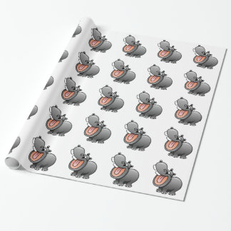 Cartoon Hippo Wrapping Paper