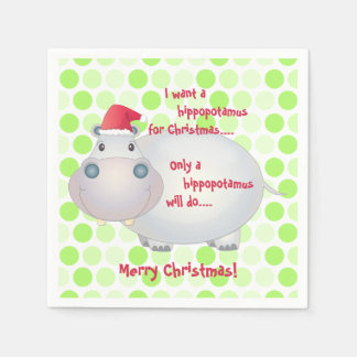 Cartoon Hippopotamus Christmas Xmas Disposable Serviettes