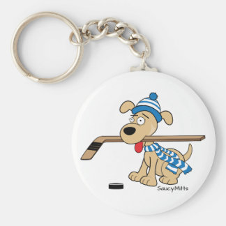 Cartoon Hockey Dog Key Ring