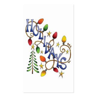 Cartoon Holidays Text with Christmas Lights Stars Business Cards