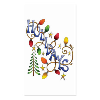 Cartoon Holidays Text with Christmas Lights Stars Business Cards