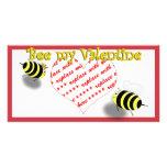 "Cartoon Honey Bees ""Bee My Valentine"" Photo Frame Personalized Photo Card"