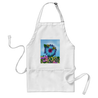 Cartoon Honey Bees Meeting on Blue Flower Aprons
