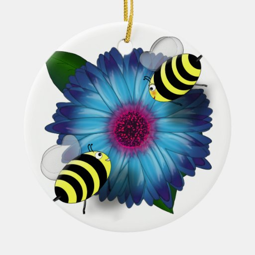 Cartoon Honey Bees Meeting on Blue Flower Christmas Ornaments