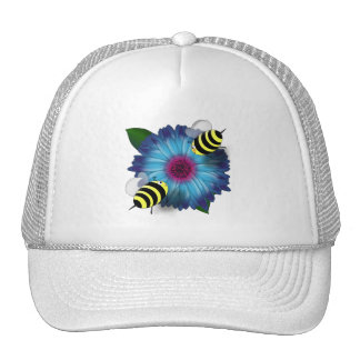 Cartoon Honey Bees Meeting on Blue Flower Trucker Hats