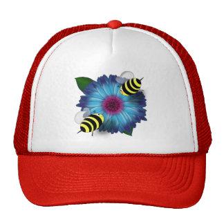 Cartoon Honey Bees Meeting on Blue Flower Mesh Hats