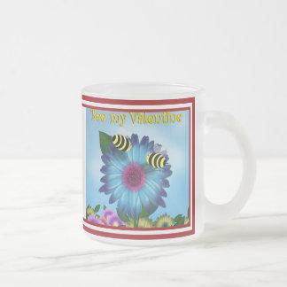Cartoon Honey Bees Meeting on Blue Flower Frosted Glass Mug