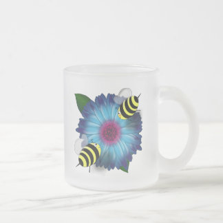 Cartoon Honey Bees Meeting on Blue Flower Coffee Mugs