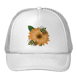 Cartoon Honey Bees Meeting on Orange Flower Trucker Hat