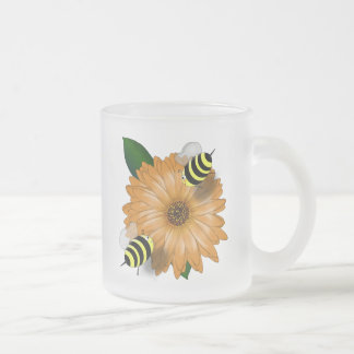Cartoon Honey Bees Meeting on Orange Flower Mug