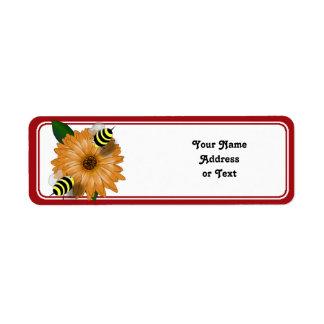 Cartoon Honey Bees Meeting on Orange Flower Return Address Label