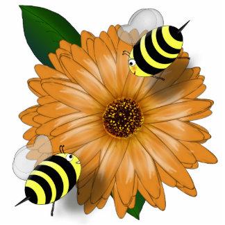 Cartoon Honey Bees Meeting on Orange Flower Standing Photo Sculpture