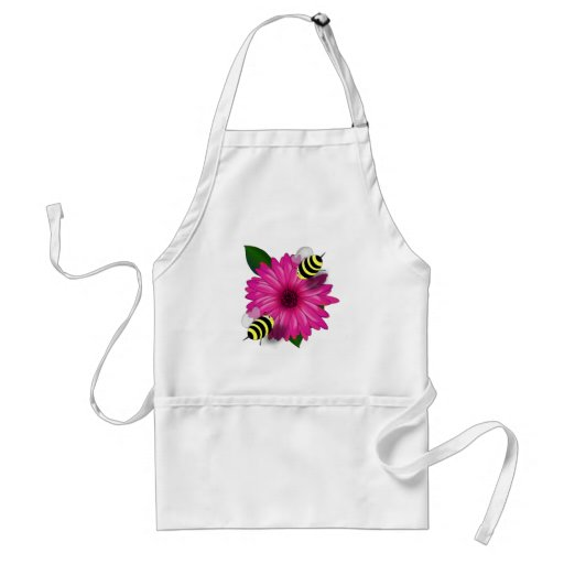 Cartoon Honey Bees Meeting on Pink Flower Apron