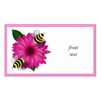 Cartoon Honey Bees Meeting on Pink Flower Business Cards