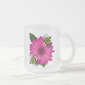 Cartoon Honey Bees Meeting on Pink Flower Coffee Mugs