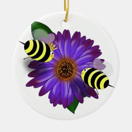 Cartoon Honey Bees Meeting on Purple Flower Ornament