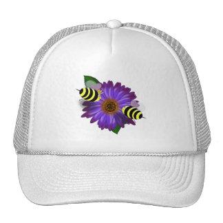 Cartoon Honey Bees Meeting on Purple Flower Hat