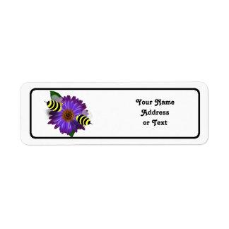 Cartoon Honey Bees Meeting on Purple Flower Return Address Label