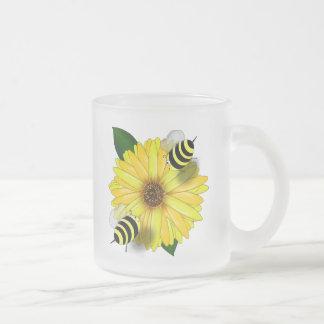 Cartoon Honey Bees Meeting on Yellow Flower Mugs