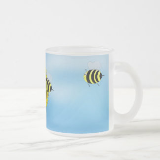 Cartoon Honey Bees Meeting on Yellow Flower Coffee Mug