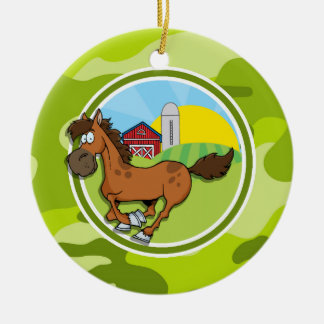 Cartoon Horse; bright green camo, camouflage Double-Sided Ceramic Round Christmas Ornament
