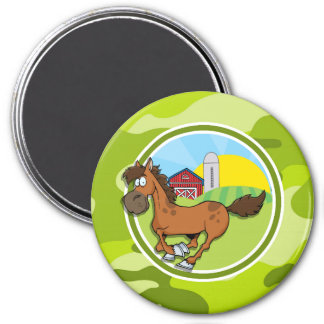 Cartoon Horse bright green camo camouflage Magnets