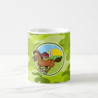 Cartoon Horse; bright green camo, camouflage Mugs
