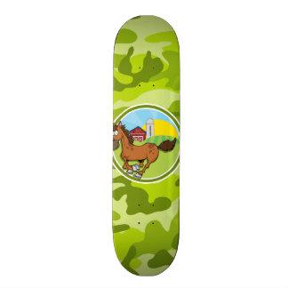 Cartoon Horse bright green camo camouflage Custom Skateboard
