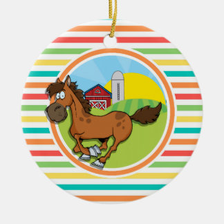 Cartoon Horse Bright Rainbow Stripes Christmas Ornament