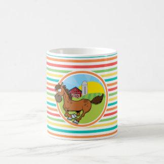 Cartoon Horse; Bright Rainbow Stripes Coffee Mug