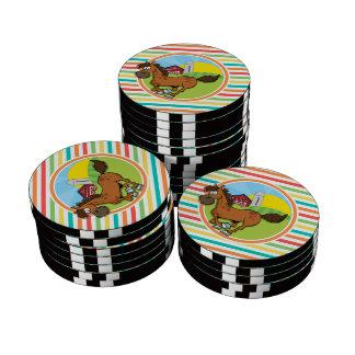 Cartoon Horse; Bright Rainbow Stripes Poker Chips Set