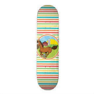 Cartoon Horse Bright Rainbow Stripes Skateboard