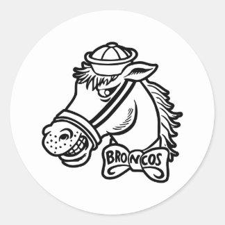 Cartoon Horse Bronc Broncos Round Sticker