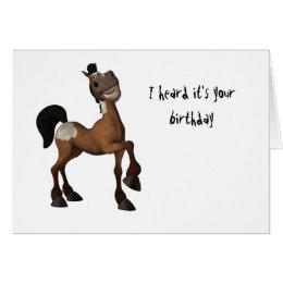 Funny horse birthday cards invitations zazzle cartoon horse i heard its your birthday card bookmarktalkfo Images