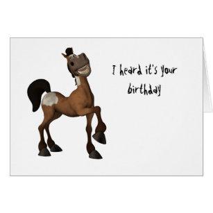 Funny horse birthday cards invitations zazzle cartoon horse i heard its your birthday card bookmarktalkfo Image collections